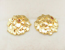 Men's 10k Yellow Gold Nugget Earrings 0.6 inch