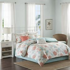 Coral Teal Seashells, Starfish, Beach Queen Comforter Set (7 Piece Bed In A Bag)