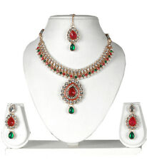 INDIAN BRIDAL GOLD PLATED KUNDAN NECKLACE SET JEWELRY EARRINGS TIKKA