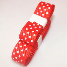 "Red 3yds 5/8""(15 mm)Christmas Ribbon Printed lovely Dots Grosgrain"