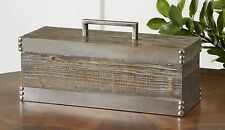 Rustic Wood Silver Metal Decorative Box | Cottage Industrial