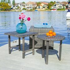 Outdoor Patio Furniture 3pc Grey Wicker Side Table Set