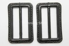 2 x 50mm BLACK COAT JACKET BELT COATED BUCKLES MENS WOMENS CRAFT WINTER UK 469