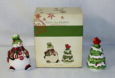 Fitz & Floyd Holly Hat Snowman Salt & Pepper Shakers Brand New In Original Box