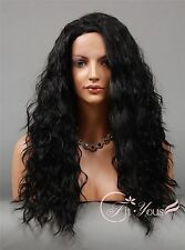 1B Off Black Long Lace Front wigs Hot Sale Curly Wavy Wigs for women