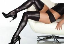 PVC STOCKINGS HOLD UP'S WET LOOK FAUX LEATHER SOCKS FREE SIZE BLACK