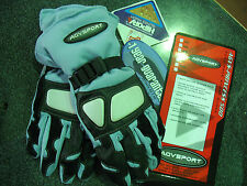 LADIES WATERPROOF MOTORCYCLE BIKE GLOVES BABY BLUE XS S M L LEATHER & FABRIC NEW