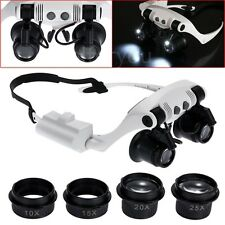 Double Eye Jewelry Watch Repair Magnifier Loupe Glasses With LED Light 8 Lens DD