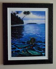 WYLAND TWO WORLDS OF PARADISE SEA TURTLE FRAMED LTD ED GICLEE ON CANVAS COA