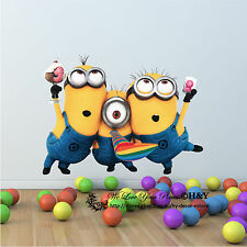 Large 3D Minions Despicable Me Removable Wall Stickers Wall Decal Kid Room Decor