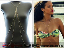 Sexy Body Belly Waist Chain Bikini Crossover Beach Harness Necklace C0047