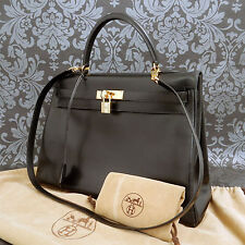 Rise-on Vintage HERMES Kelly 35 Black Leather Shoulder Handbag Satchel Purse #71