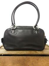 ROOTS Canada Vintage Chic Smooth Black Leather Minimalist Speedy Purse Hand Bag