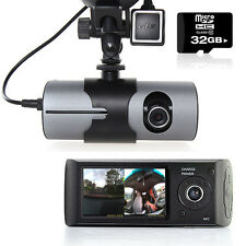 "Dash Cam 2.7"" LCD HD Dual Cam Car DVR Black Box w/ GPS Tracker + G-Sensor + 32GB"