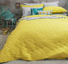 3 Pce Regent Yellow Diamond Embossed QUEEN / KING Coverlet Bedspread Blanket Set
