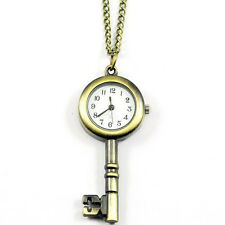 Antiqued Brass VIinage Style Skeleton Key Locket Watch Pocket Watch Necklace T1