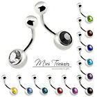 316L Surgical Stainless Steel Silver Gem Belly Button Bar Navel Piercing Barbell