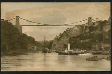 C1910 View of a Paddle Steamer Boat heading under Clifton Suspension Bridge