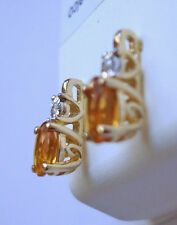 10k Yellow Gold Oval Natural Citrine And Diamond Earrings (0.62 ctw) ~ November