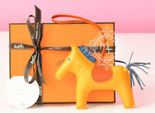 NEW HERMES JAUNE D'OR YELLOW BLUE RODEO GM HORSE KEYCHAIN BAG CHARM CARMEN