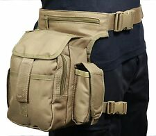 Coyote Lona Tactical Cintura Multi Pack With Leg Strap-Airsoft Caza Hip Bolsa