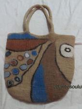 B32 handmade multi-couleur femme fermeture éclair épaule laine feutre large sac à main sac à main