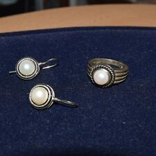 Sterling Silver and Pearl Ring and Earrings Set
