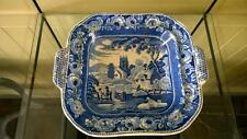 Scarce Georgian Clews 'Rural Village' Square Two Handled Serving Dish C 1825