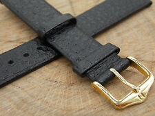 18mm Black Saddle Leather Watch Band Vintage Mens Hirsch Water Resistant NOS