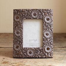 Fair Trade Antico LILLA FIORE mango legno Photo Frame, shabby chic, sostenibile