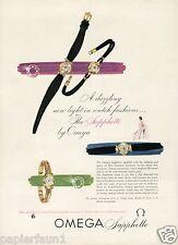 Armbanduhr Uhr Omega Sapphette Reklame von 1955 USA watch ad Werbung Schweiz