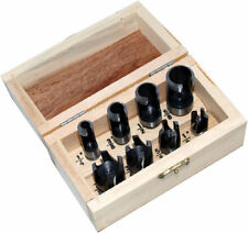 8PC WOOD PLUG HOLE CUTTER SET DOWEL IN WOODEN CASE CARPENTER