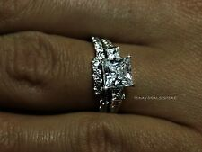 3.00 CTW  Princess Cut Ring Set Bridal Wedding Engagement Real 14k White Gold