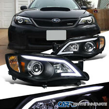 08-11 Impreza OutBack Sport 08-14 WRX Black LED DRL Projector Headlight Lamps