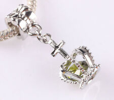 HOT 1pcs silver CZ Crown Pendant line with European charm bead bracelet ZZ662