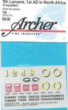 Archer British 9th Lancers North Africa Sherman Transfers Decals AR35174