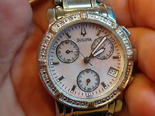 BULOVA DIAMOND BEZEL ROSE PINK MOTHER OF PEARL LADIES WATCH  STAINLESS 96R47