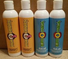 Four 8oz Bottles of Dinovite Products- Two LickOchops & Two SuprOmega Fish Oil
