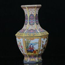 Chinese Cloisonne Famille Rose Porcelain Hand Painted Flower Bird & Man Vase