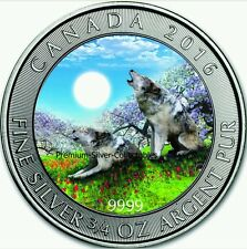 "2016 3/4 Oz Silver Canadian ""GREY WOLF"" Coin .9999 Pure Silver....."