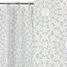 BNIP White Circle Floral Moroccan Ethnic Style Bathroom Shower Curtain NEW Retro