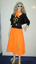 LADIES 1950S ROCK N ROLL GREASE 50S ORANGE FANCY DRESS COSTUME 14-16 USED
