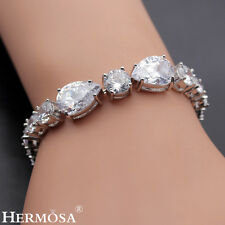 65% Off HERMOSA SHINY WHITE TOPAZ NEW 925 Sterling Silver Bracelet 6.5""