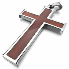 MENDINO Men's Stainless Steel Pendant Chain Necklace Wood Grain Crucifix Cross