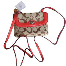 NWT Coach Park Dylan Signature Khaki Vermilion Red Crossbody Swing Bag 49551
