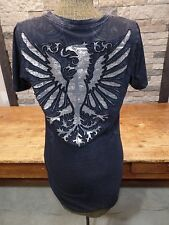 Buckle Sinful by Affliction Graphic T Deep V Neck Front & Back Graphics Size L