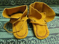 NATIVE AMERICAN KIDS MOCCASINS 3&1/2 INCHES LONG WITH LONG SHOE LACES & HIGH END