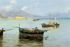 Oil painting beautiful Attilio Pratella - porto de napoli free shipping