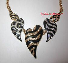 $165 GUESS Exclusive Animal Print Heart Pendant Necklace Collier Gold Gift Pouch