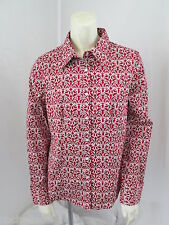 Talbots Stretch French Cuff Red White Cotton Swirl Print Button Front Shirt 8